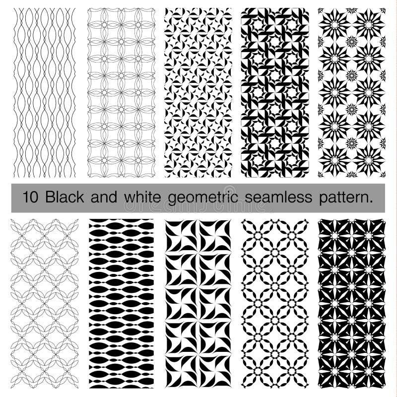 Samling av den svartvita geometriska sömlösa modellen royaltyfri illustrationer