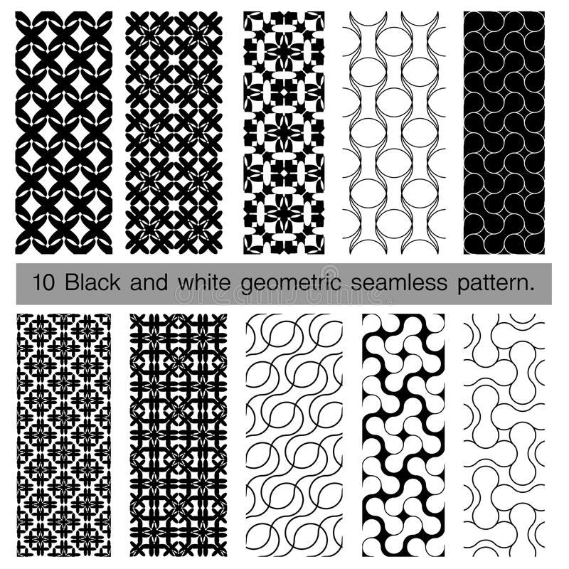 Samling av den svartvita geometriska sömlösa modellen stock illustrationer