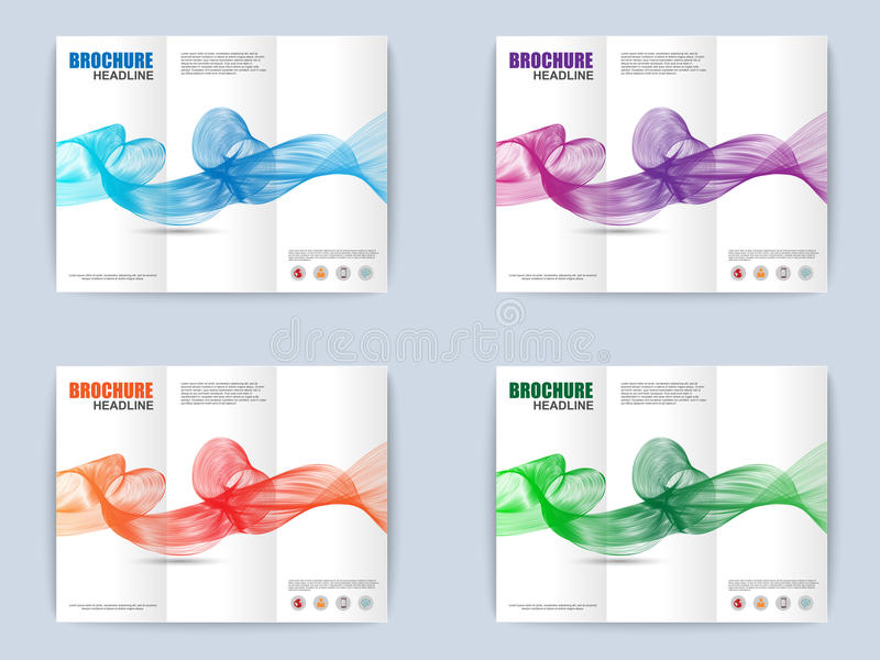 Samling av den trifold broschyren med vågbakgrund stock illustrationer