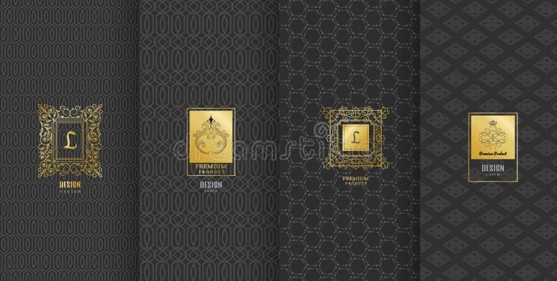 Samling av designbeståndsdelar, etiketter, symbol, ramar, för att förpacka royaltyfri illustrationer