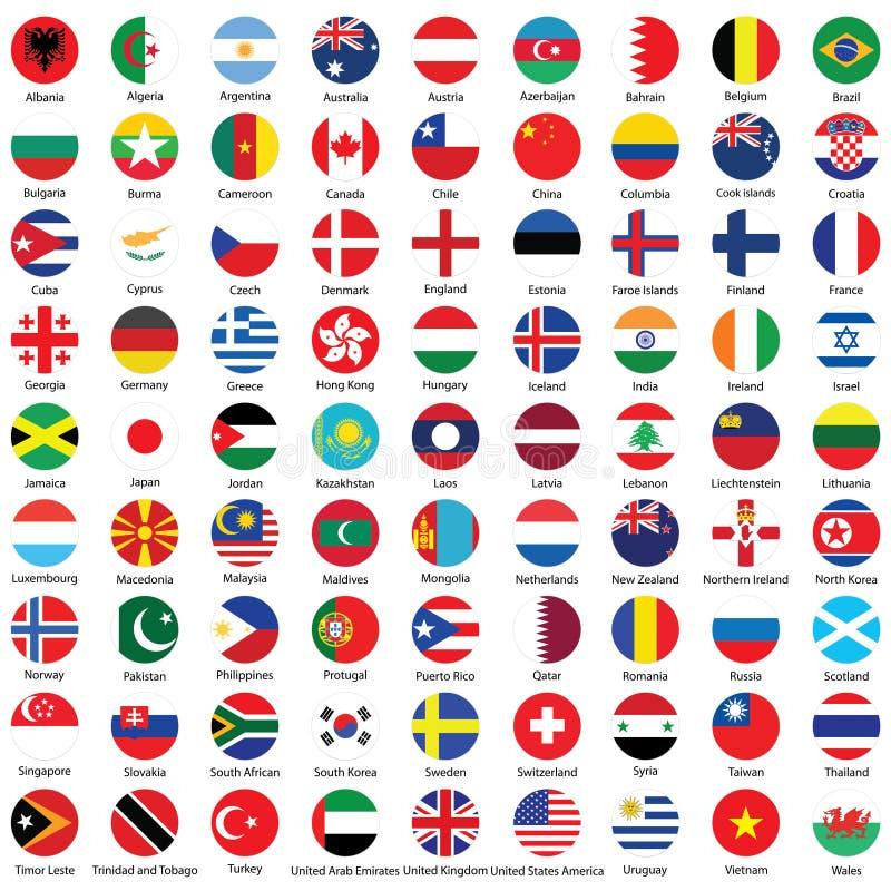 Samling av designen för flaggaknappsymboler royaltyfri illustrationer