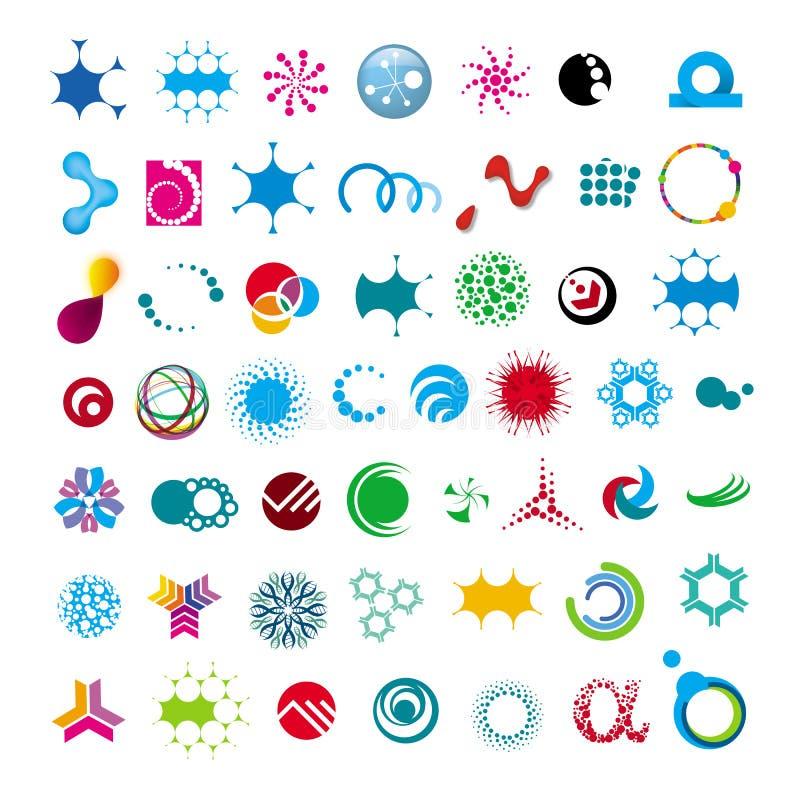 Samling av det abstrakta universella teckenet royaltyfri illustrationer
