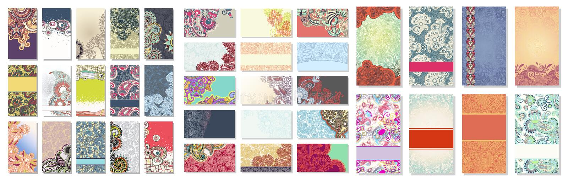 Samling av det färgrika blom- dekorativa affärskortet royaltyfri illustrationer