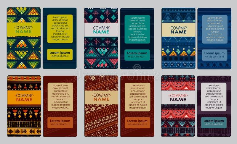 Samling av det färgrika dekorativa affärskortet royaltyfri illustrationer