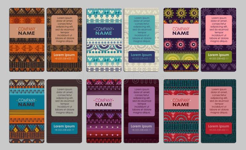 Samling av det färgrika dekorativa affärskortet vektor illustrationer