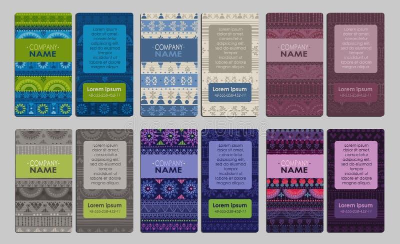 Samling av det färgrika dekorativa affärskortet stock illustrationer