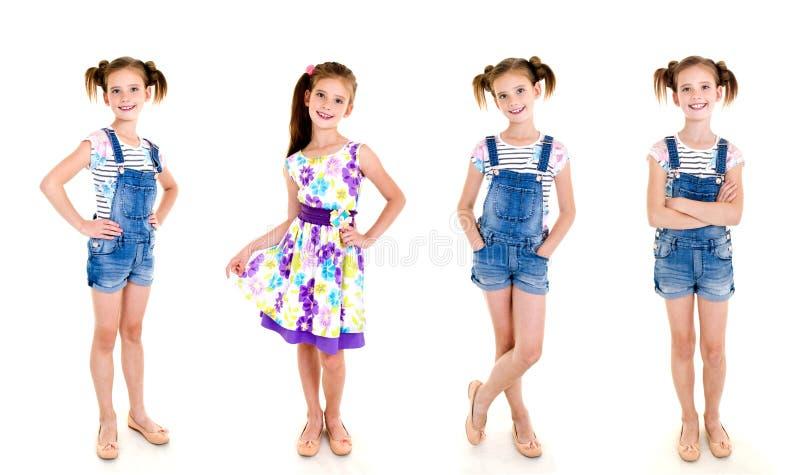 Samling av det förtjusande le liten flickabarnet för foto i princ fotografering för bildbyråer
