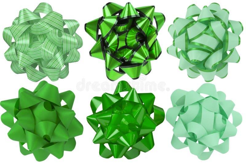 Samling av det gröna pilbågebandet Sex olika stilar arkivbild