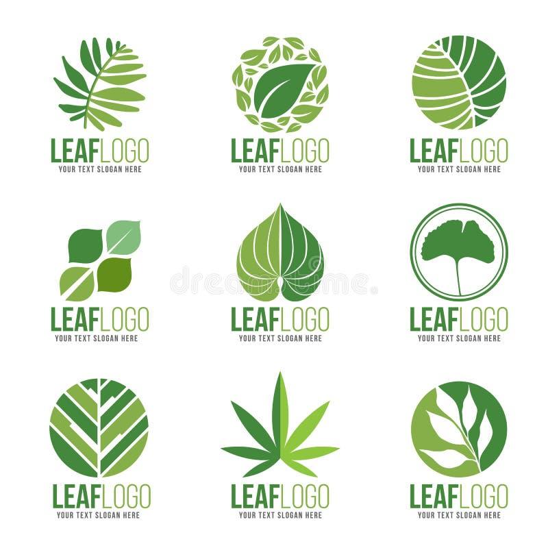 Samling av det organiska gröna bladet Logo Symbols Vector Design royaltyfri illustrationer