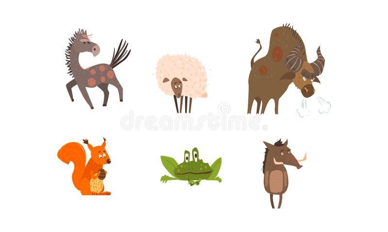 Samling av djur för rolig lantgård och skog, häst, får, bison, ekorre, groda, galtvektorillustration stock illustrationer