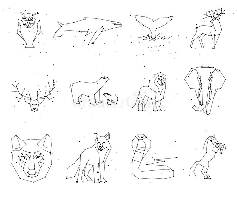 Samling av djurkonstellation på vit bakgrund Vilda djur med linjen och stjärnor, horoskopstil stock illustrationer