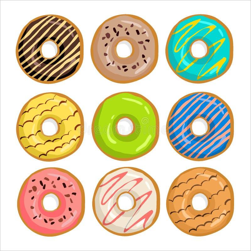 Samling av donuts med glasyr vektor illustrationer