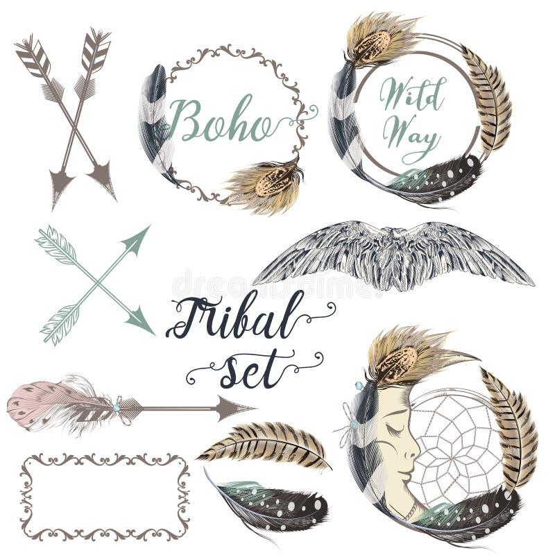 Samling av drog örnar för vecotr hand royaltyfri illustrationer