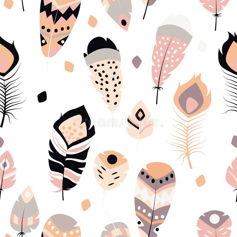 Samling av drog färgrika fjädrar för bohotappning stam- etnisk hand stock illustrationer