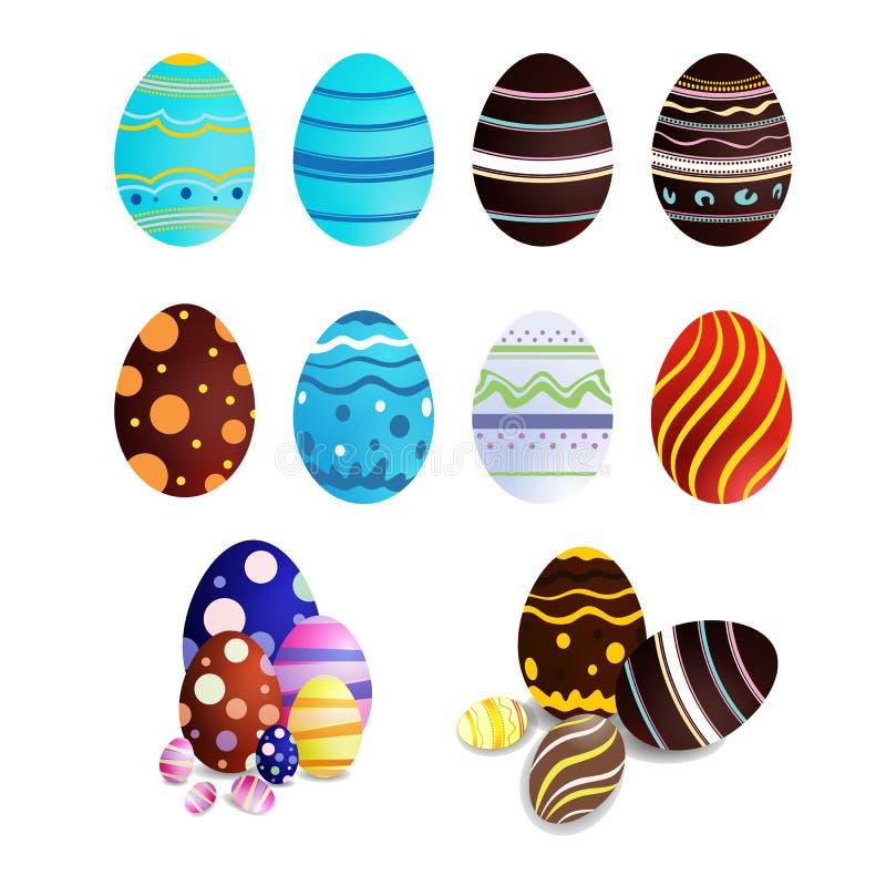 Samling av easter ägg för garnering, på vit bakgrund, vektor illustrationer