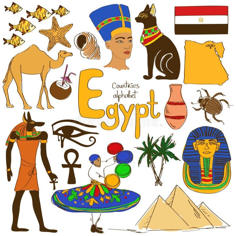 Samling av Egypten symboler stock illustrationer