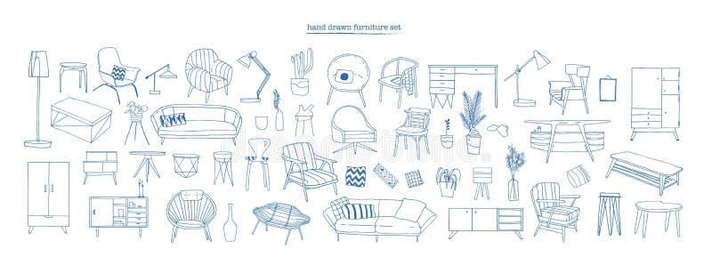 Samling av eleganta moderna möblemang- och hemmiljögarneringar av moderiktiga den drog skandinav- eller hyggestilhanden royaltyfri illustrationer