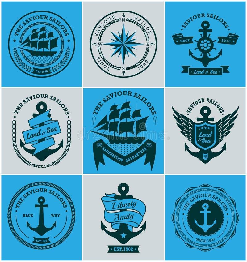Samling av emblem och etiketter för tappning nautiska royaltyfri illustrationer