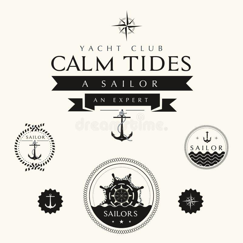 Samling av emblem och etiketter för tappning nautiska vektor illustrationer
