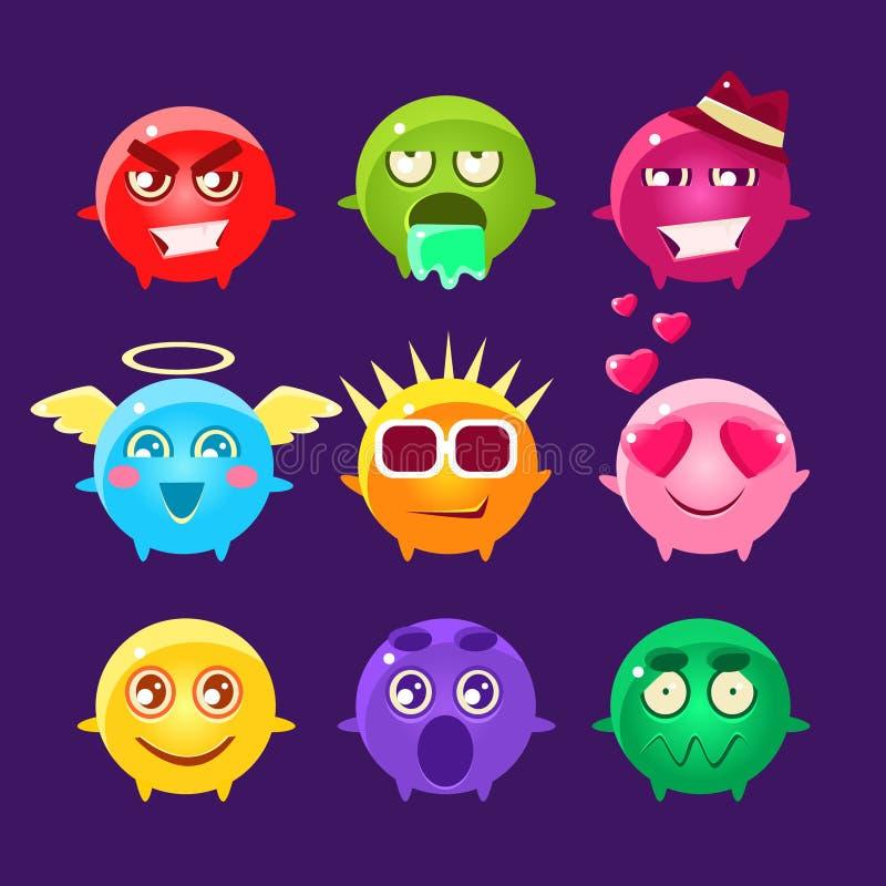 Samling av Emoji för runt tecken symboler vektor illustrationer