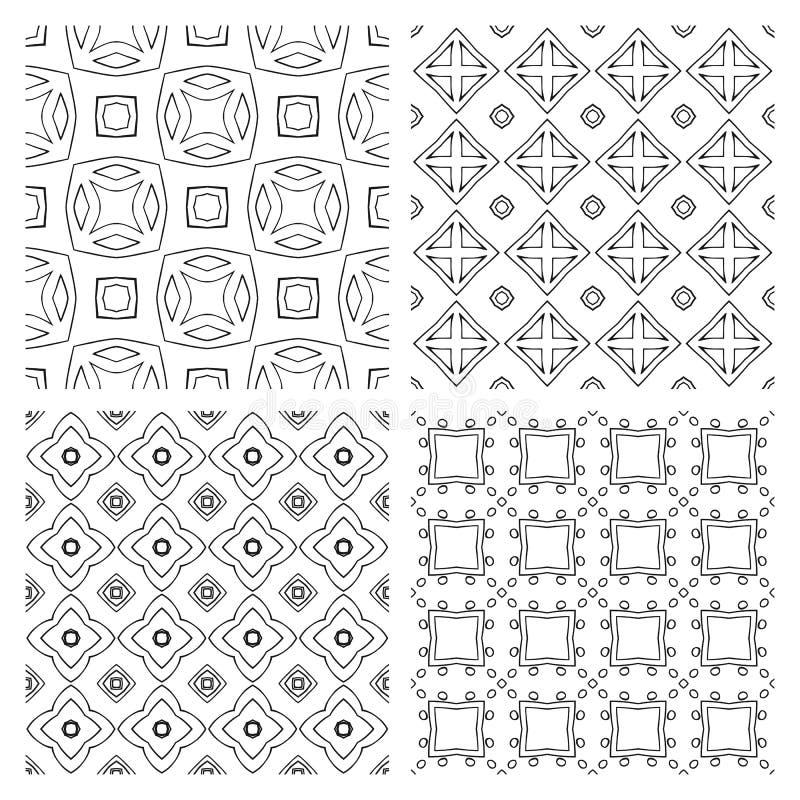 Samling av enkla geometriska sömlösa modeller svart white stock illustrationer