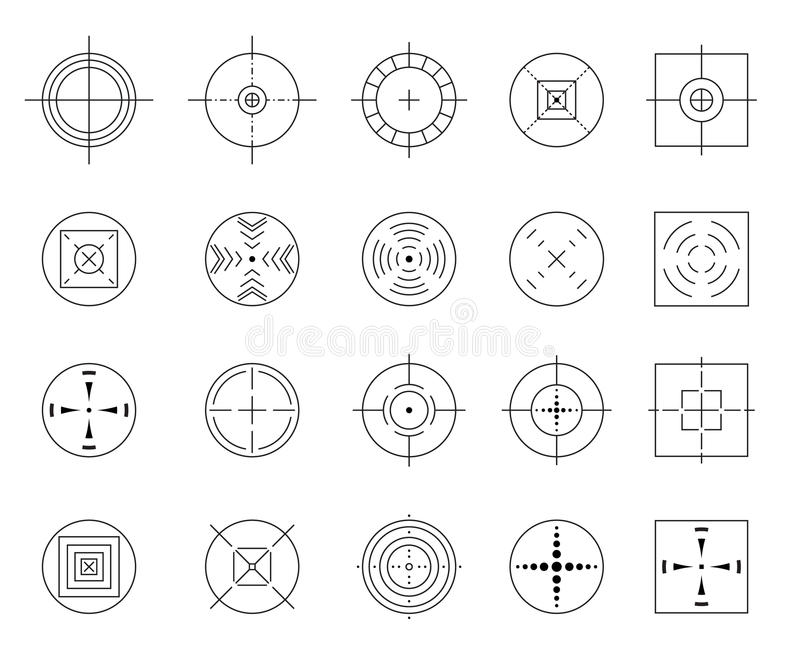 Samling av enkla mål för vektorlägenhet som isoleras på vit bakgrund Olika crosshairsymboler Siktar mallar vektor illustrationer