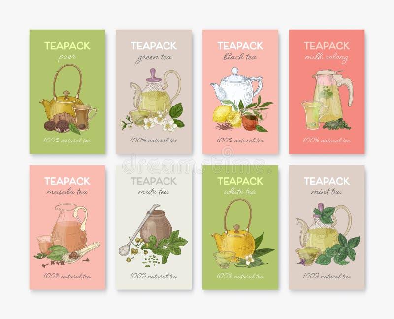 Samling av etiketter eller etiketter med olika typer av svart te -, grönt, vitt, masalaen, kompisen, puer, mintkaramell, mjölka o vektor illustrationer