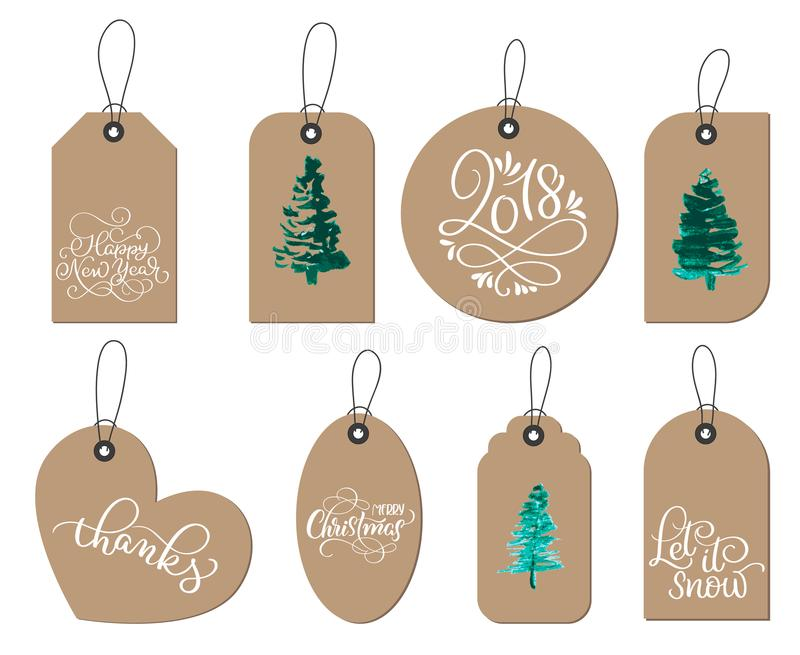 Samling av etiketter för gåva för jul för kraft papper royaltyfri illustrationer