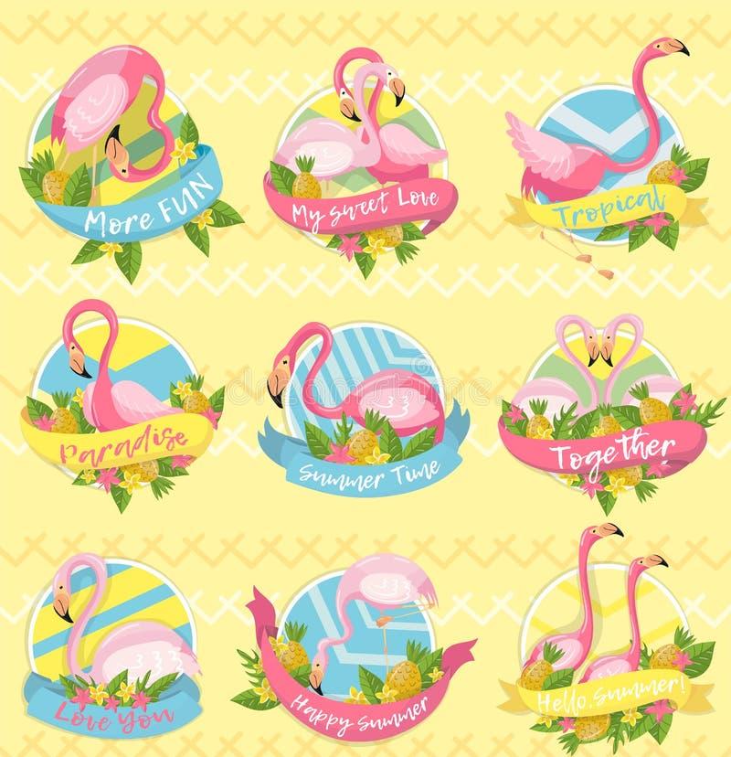 Samling av etiketter med uttryck om sommar, designbeståndsdelen med palmblad, exotiska blommor, ananors och flamingo royaltyfri illustrationer