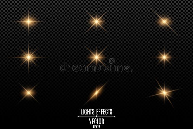 Samling av exponeringar, ljus och gnistor Optiska signalljus Abstrakta guld- ljus som isoleras på en genomskinlig bakgrund Guld-  vektor illustrationer