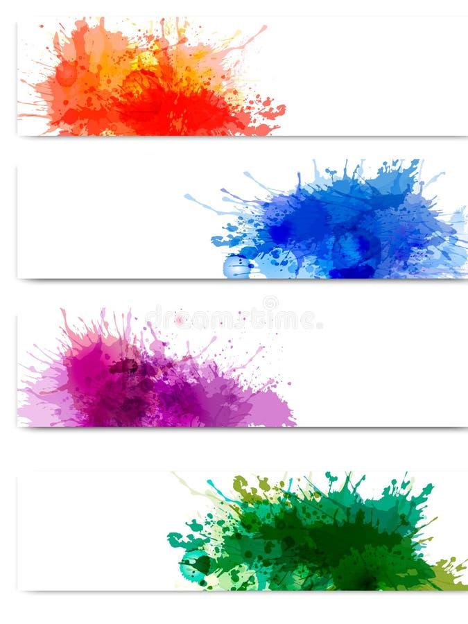 Samling av färgrika abstrakt vattenfärgbaner royaltyfri illustrationer