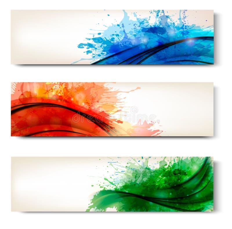 Samling av färgrika abstrakt vattenfärgbaner stock illustrationer