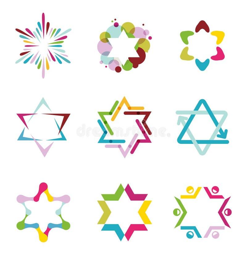 Samling av färgrika abstrakta stjärnasymboler royaltyfri illustrationer