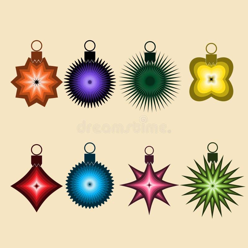 Samling av färgrika bollar för vektorjulprydnad royaltyfri illustrationer