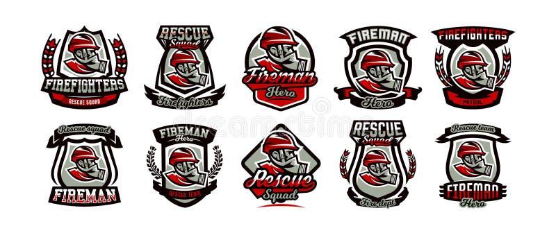 Samling av färgrika emblem, logo, emblem, brandman i en gasmask, räddningsaktiontrupp, vektorillustration royaltyfri illustrationer
