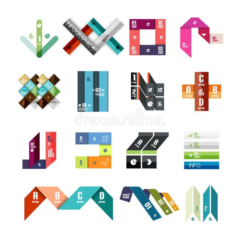 Samling av färgrika för linje och infographic diagramdesigner för band, affär eller rengöringsdukbanermallar vektor illustrationer