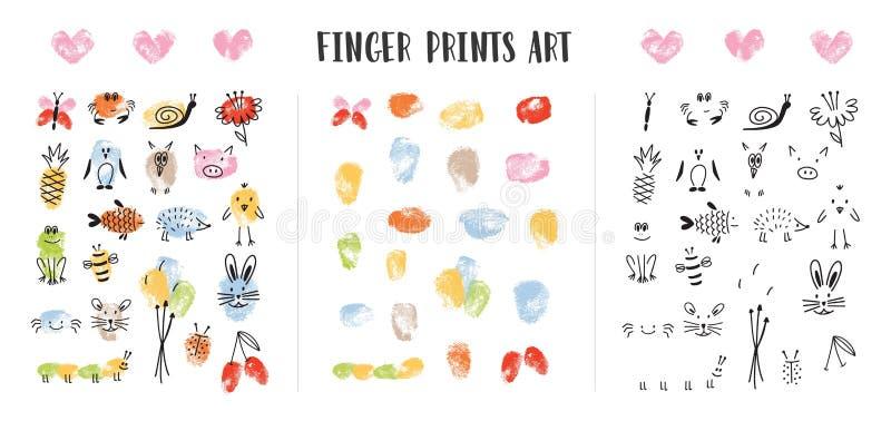 Samling av färgrika fingeravtryck som dekoreras av förtjusande framsidor för djur som s isoleras på vit bakgrund Packe av konst vektor illustrationer