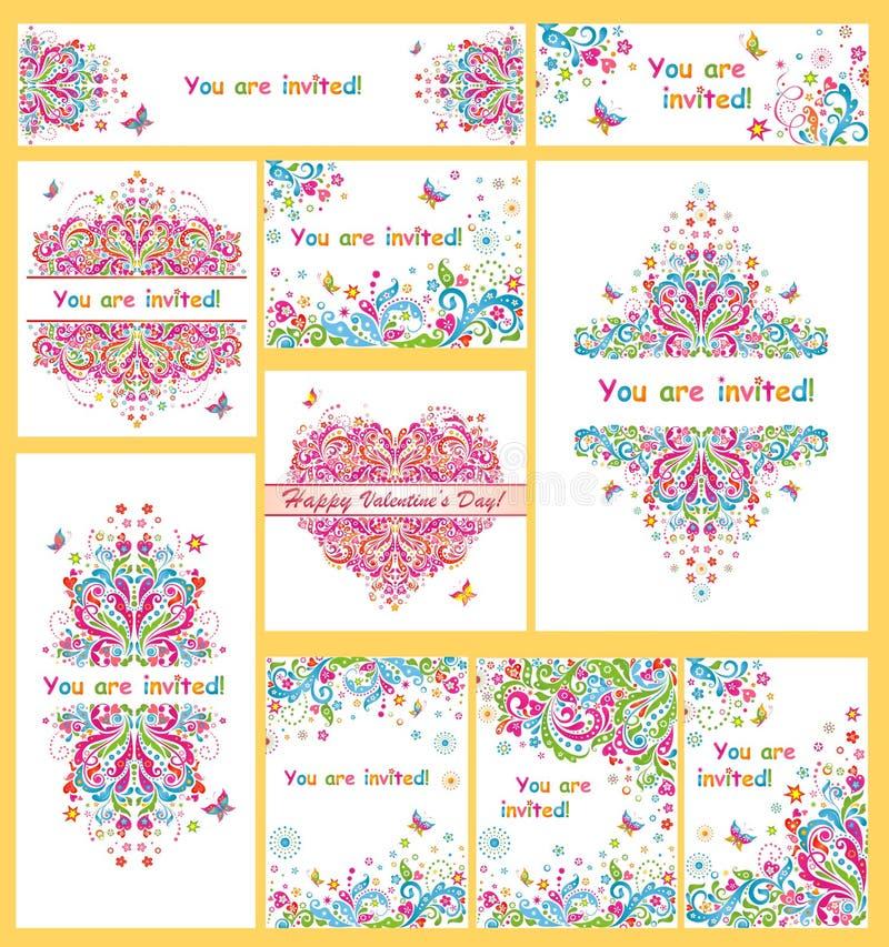 Samling av färgrika inbjudningar för parti royaltyfri illustrationer