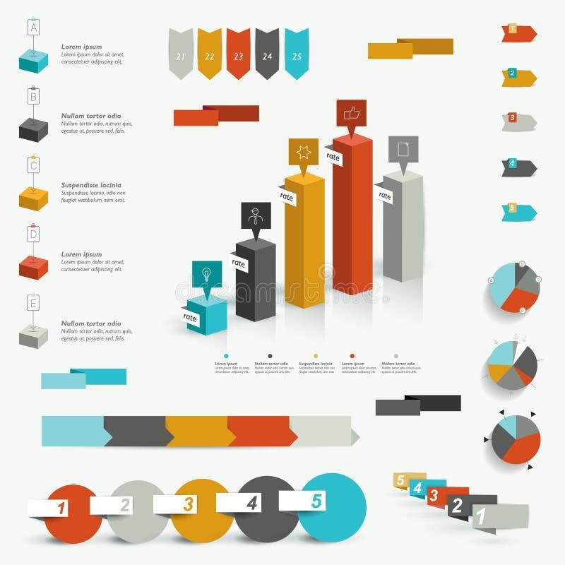 Samling av färgrika infographic beståndsdelar vektor illustrationer