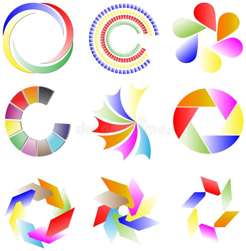 Samling av färgrika logoer royaltyfri illustrationer