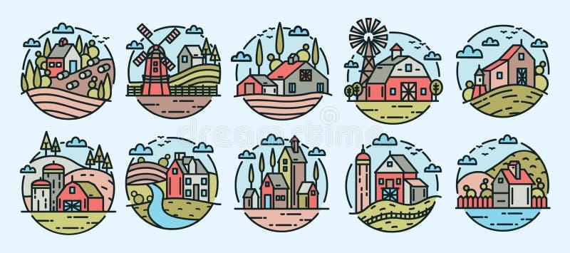 Samling av färgrika logotyper med lantliga eller bygdlandskap, lantgårdbyggnader, väderkvarnar, kullar och träd in royaltyfri illustrationer