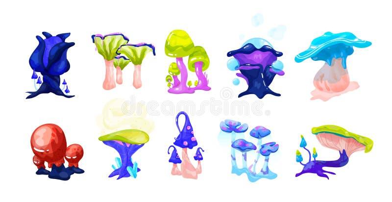 Samling av färgrika magiska sagachampinjoner som växer i förtrollad skoguppsättning av den exotiska naturliga fantasidesignen royaltyfri illustrationer