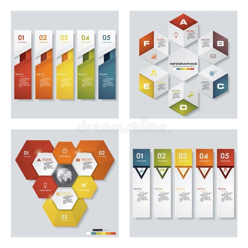 Samling av 4 färgrika presentationsmallar för design Det kan vara nödvändigt för kapacitet av designarbete royaltyfri illustrationer