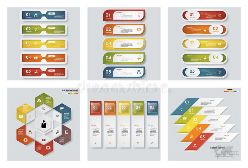 Samling av 6 färgrika presentationsmallar för design Det kan vara nödvändigt för kapacitet av designarbete royaltyfri illustrationer