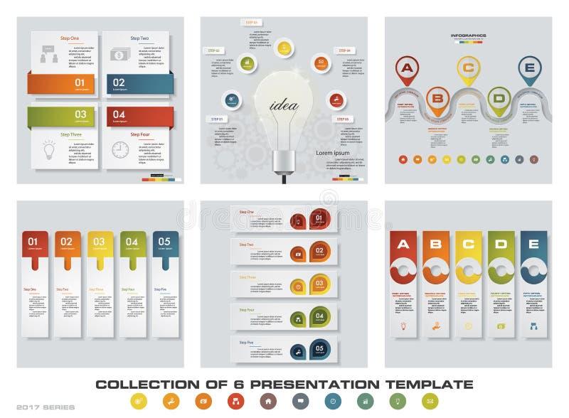 Samling av 6 färgrika presentationsmallar för design EPS10 Uppsättning av symboler för för infographicsdesignvektor och affär vektor illustrationer