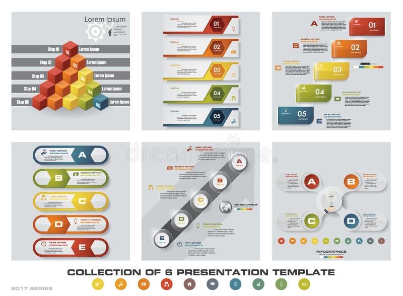 Samling av 6 färgrika presentationsmallar för design EPS10 Uppsättning av symboler för för infographicsdesignvektor och affär stock illustrationer