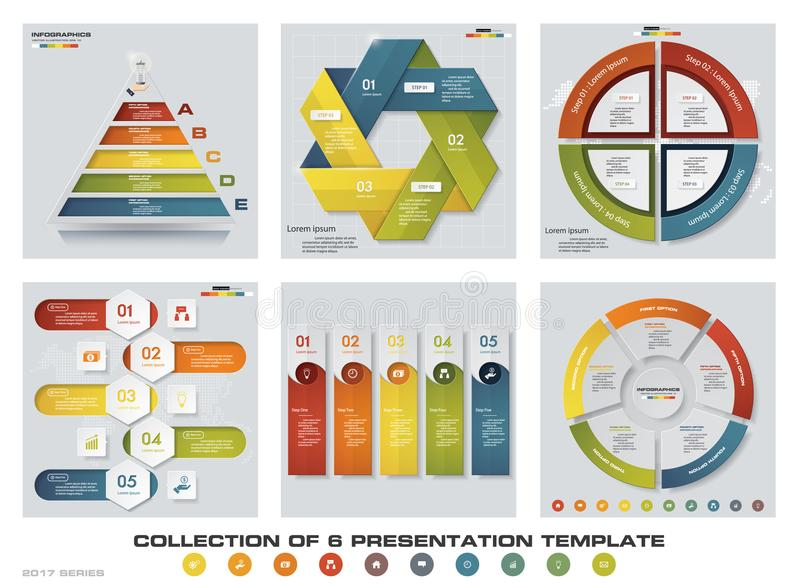 Samling av 6 färgrika presentationsmallar för design EPS10 Uppsättning av symboler för för infographicsdesignvektor och affär royaltyfri illustrationer