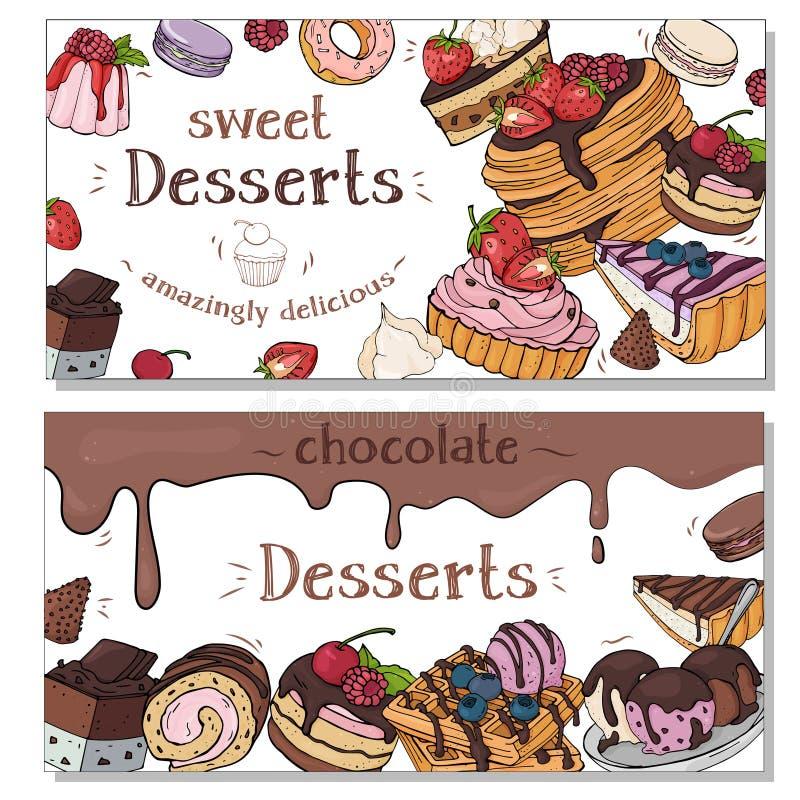 Samling av färgrika reklamblad med olika efterrätter Färgrika stilfulla sötsaker och bakelser fotografering för bildbyråer