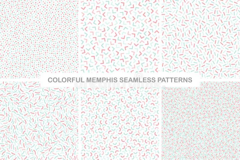 Samling av färgrika sömlösa memphis modeller fin design royaltyfri illustrationer