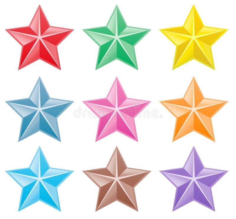 Samling av färgrika stjärnor stock illustrationer